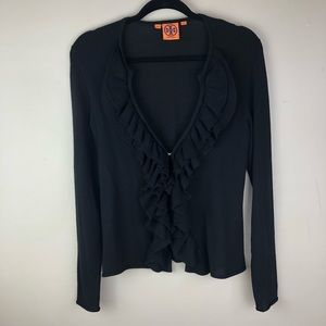 Tory Burch Ruffle Cardigan Sweater Black Sz Medium